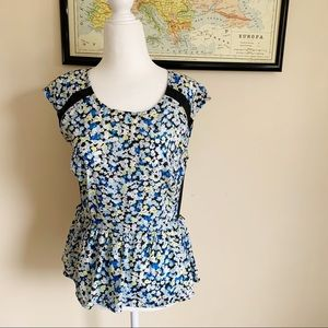 ELLE | blue floral peplum top